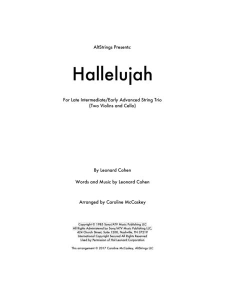 Hallelujah - String Trio (Two Violins and Cello)