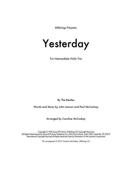 Yesterday - for Violin Trio