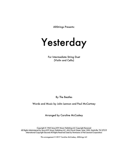 Yesterday - for Violin and Cello Duet