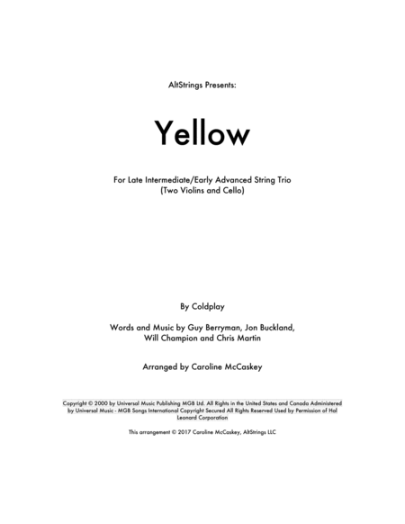 Yellow - String Trio (Two Violins and Cello)