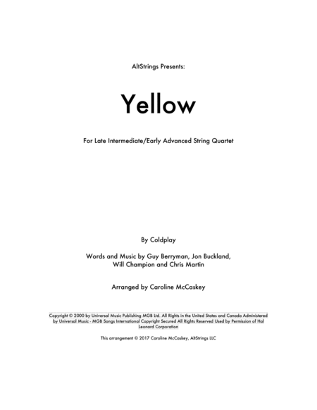 Yellow - String Quartet