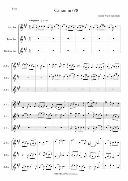 Canon in 6/8 for saxophone trio