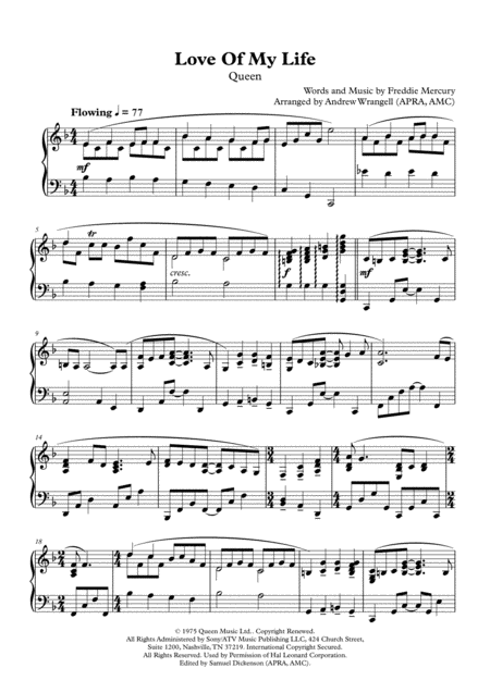 Love Of My Life (Piano)