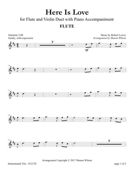 Here Is Love (Flute and Violin Duet with Piano Accompaniment)
