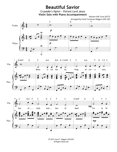 Beautiful Savior (Violin & Piano Duet)