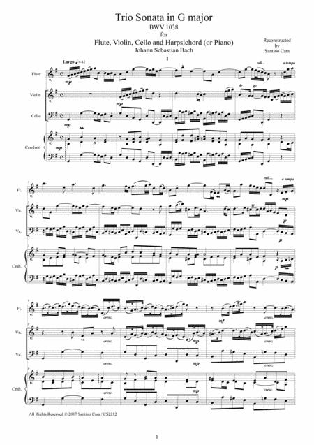 Bach - Trio Sonata in G major BWV 1038 for Flute, Violin, Cello and Harpsichord (or Piano)