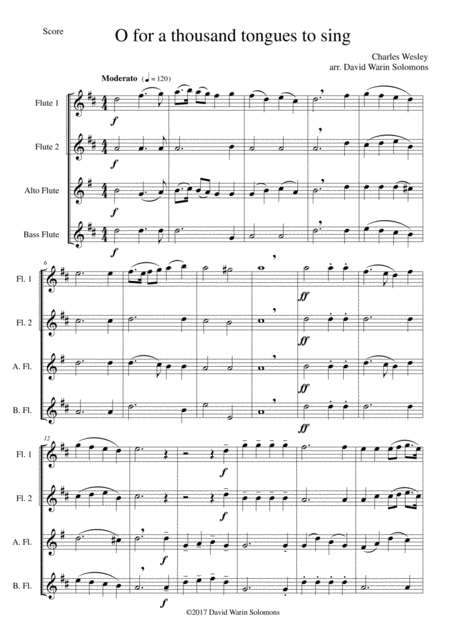 O for a thousand tongues to sing for Flute quartet (2 C flutes, alto flute, bass flute)