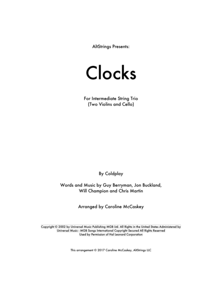Clocks - String Trio (Two Violins and Cello)
