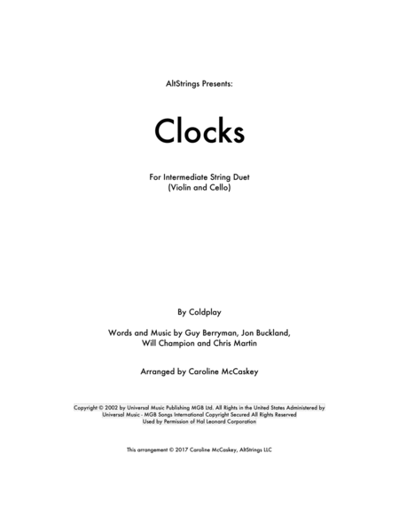 Clocks - Violin and Cello Duet