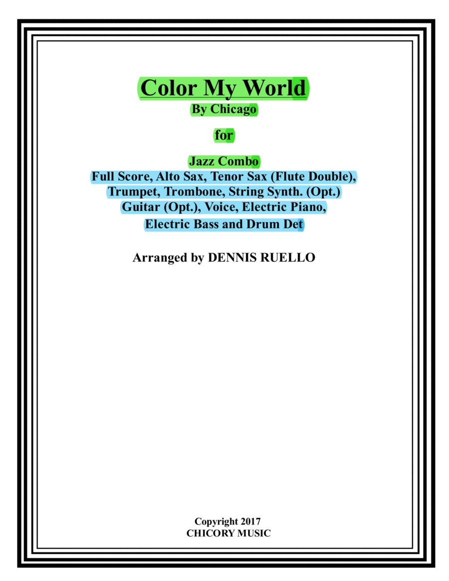 Color My World - Chicago - Jazz Combo with Vocal
