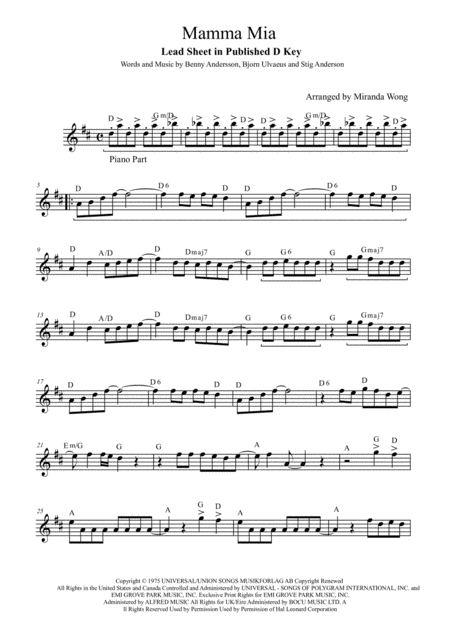 Mamma Mia - Flute and Piano Accompaniment (With Chords)
