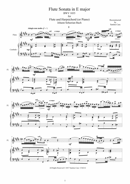 Bach - Flute Sonata in E major BWV 1035 for Flute and Harpsichord or Piano