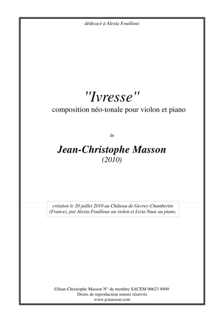 ''Ivresse'' for violin and piano --- Full score and violin part --- JCM 2010