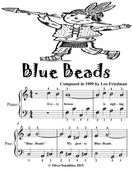 Blue Beads Easiest Piano Sheet Music for Beginner Pianists Tadpole Edition