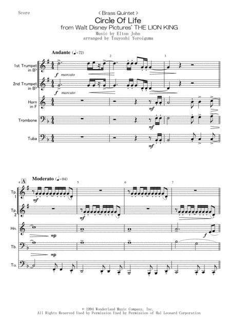 < Brass Quintet > Circle Of Life from Walt Disney Pictures' THE LION KING