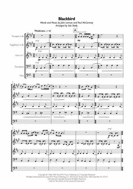 The Beatles - Blackbird for Brass Quintet