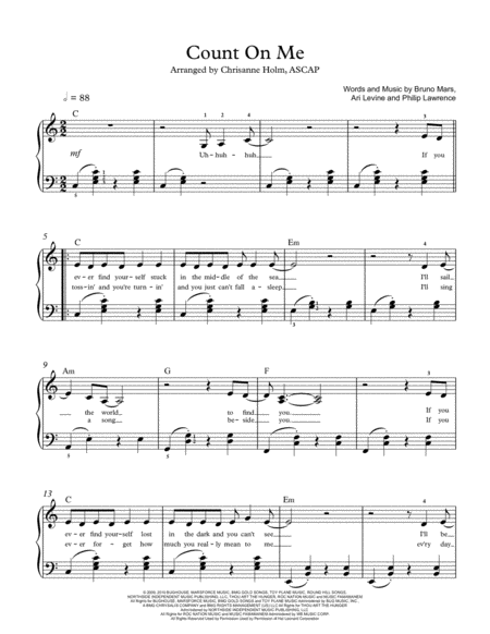 Count On Me by Bruno Mars - Piano Solo for Intermediates - Arranged by Chrisanne Holm, ASCAP
