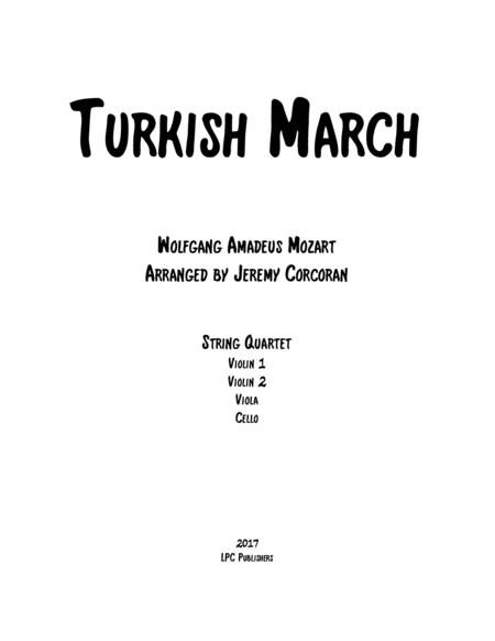 Turkish March for String Quartet