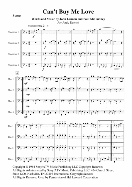 Can't Buy Me Love for trombone quartet