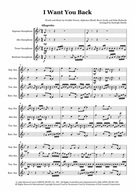 I Want You Back by The Jackson 5 - Saxophone quartet (SATB)