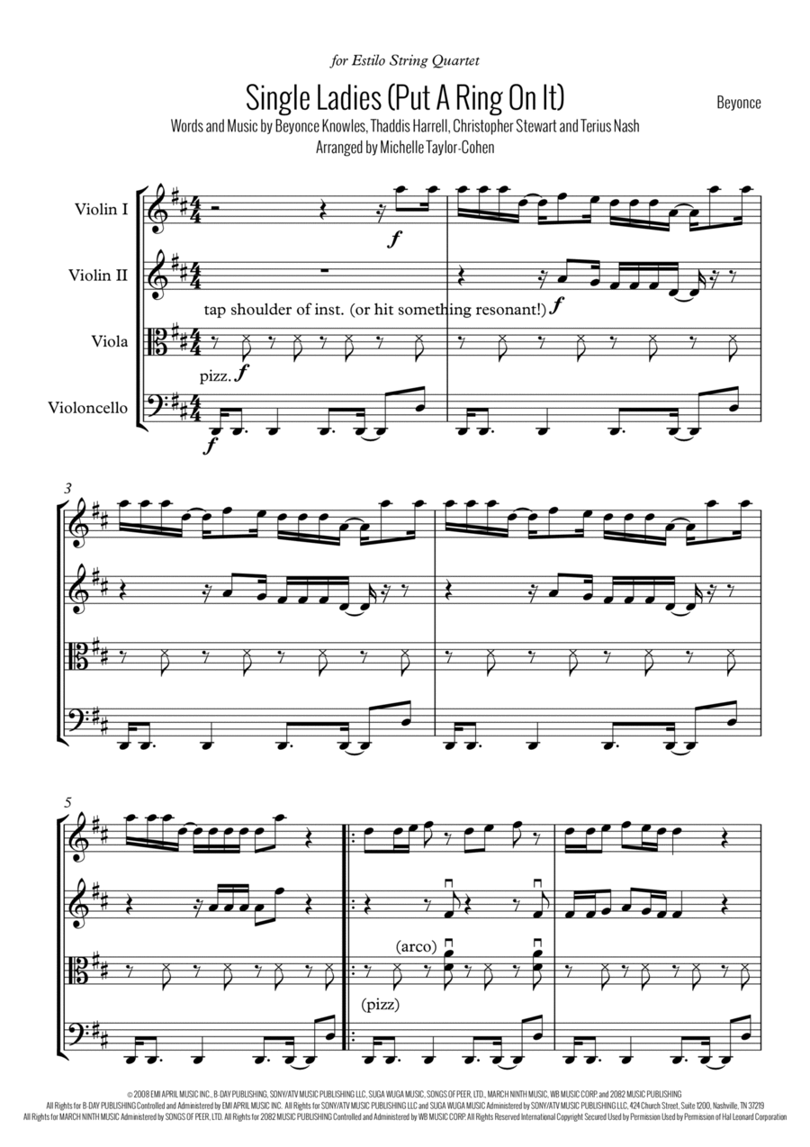 Single Ladies (Put A Ring On It) -String Quartet