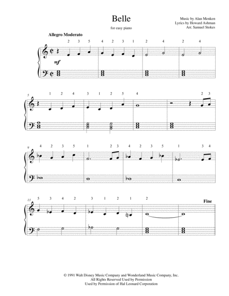 Belle from Disney's BEAUTY AND THE BEAST - for easy piano