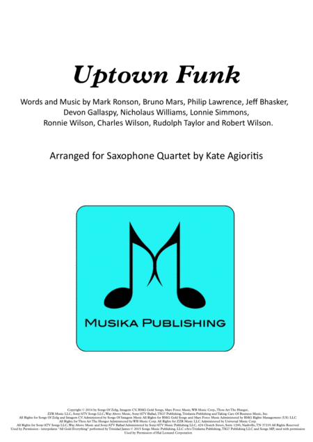 Uptown Funk - for Saxophone Quartet