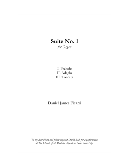 Suite No. 1 for Organ