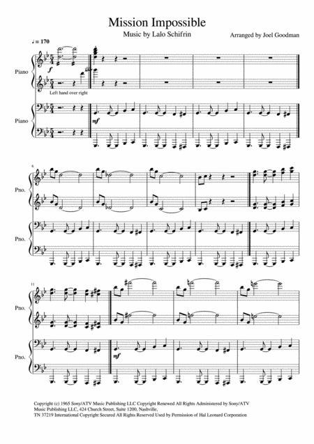 MISSION: IMPOSSIBLE 4 hands, 1 piano - duet