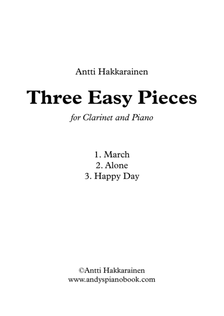 Three Easy Pieces for Clarinet and Piano