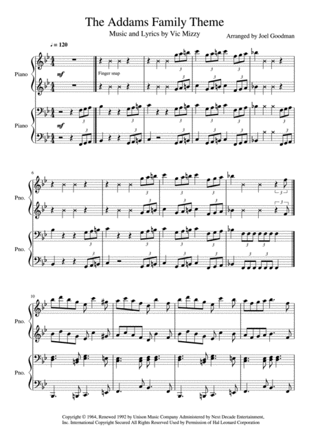 The Addams Family Theme - 4 hands piano duet