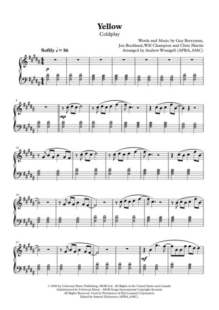 Yellow (Easy Piano)