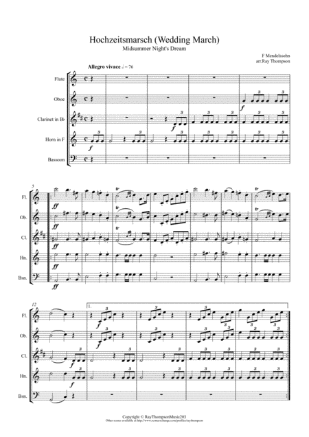 Mendelssohn: Incidental Music from A Midsummer Night's Dream Op.61- 9.Hochzeitsmarsch (Wedding March) - wind quintet