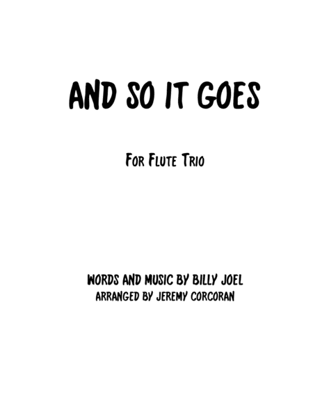 And So It Goes for Flute Trio