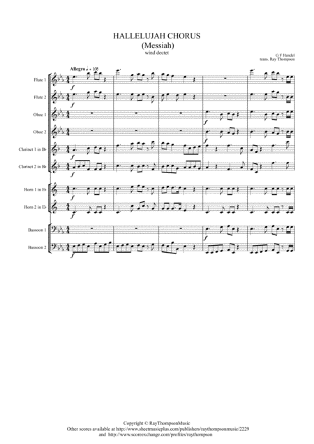 Handel: Messiah (Der Messias) Hallelujah Chorus (transposed into Eb)- wind dectet (10 players)