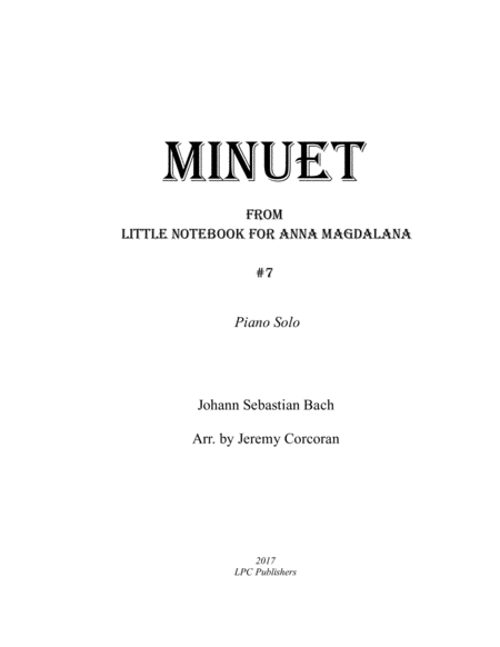Minuet in G for Solo Piano