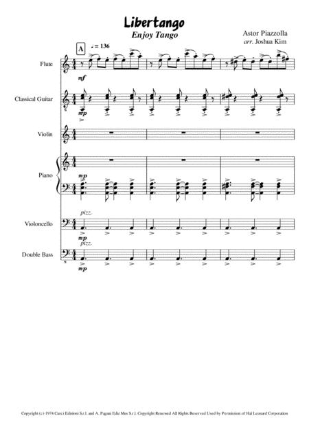 Enjoy Tango (Libertango for small ensemble)