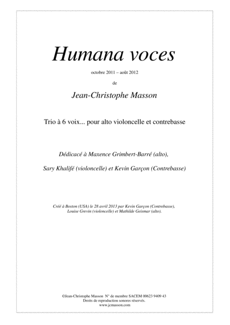 Humana voces --- Full score and parts --- JCM 2011