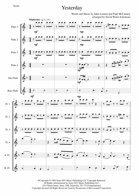 Yesterday for flute sextet or flute choir