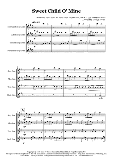 Sweet Child O' Mine - Saxophone quartet (SATB)