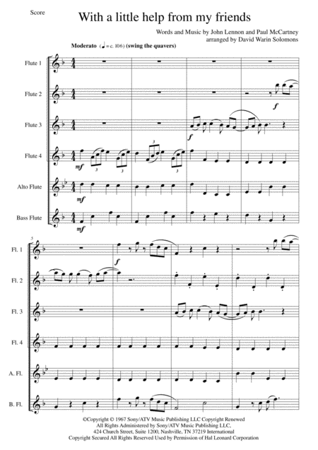 With A Little Help From My Friends for flute sextet or flute choir