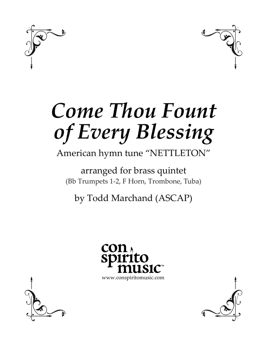 Come, Thou Fount of Every Blessing — brass quintet