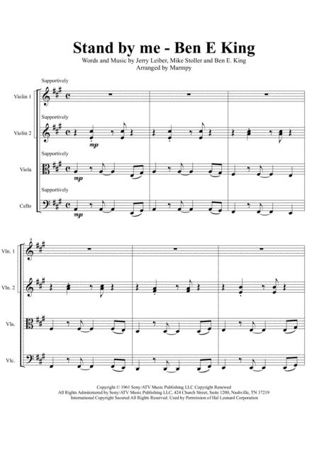 Stand By Me - Ben E King (arranged for String Quartet)
