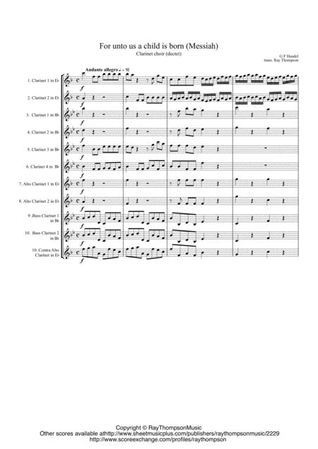 Handel: Messiah For unto us a child is born - clarinet choir