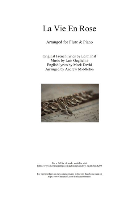 download la vie en rose for flute and piano sheet music by