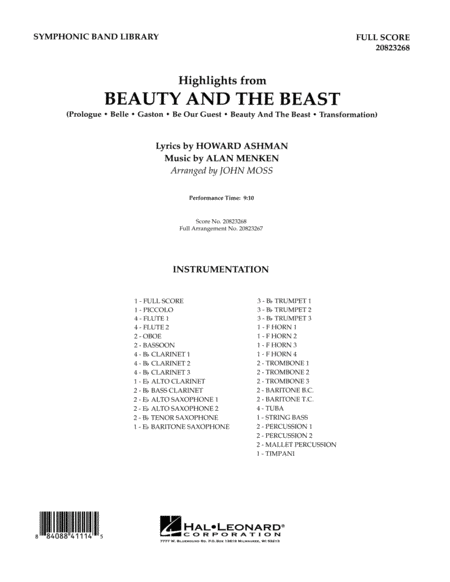 Highlights from Beauty and the Beast - Full Score