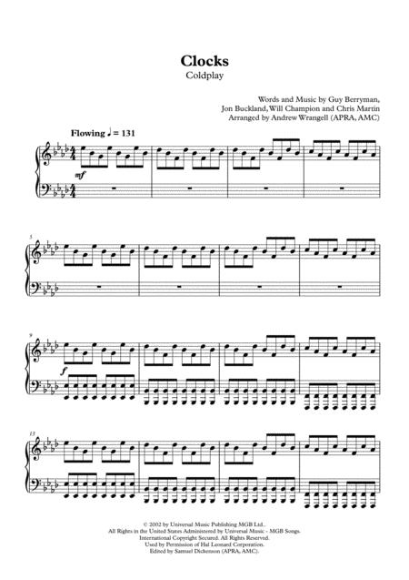Clocks (Piano - Original Piano Part)
