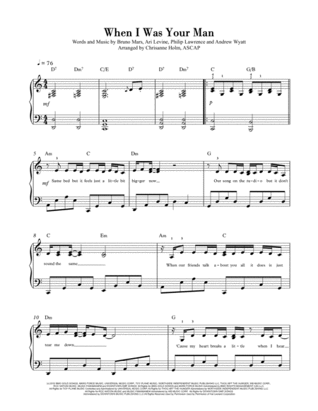 When I Was Your Man by Bruno Mars - Piano Solo for Intermediates - Arranged by Chrisanne Holm, ASCAP