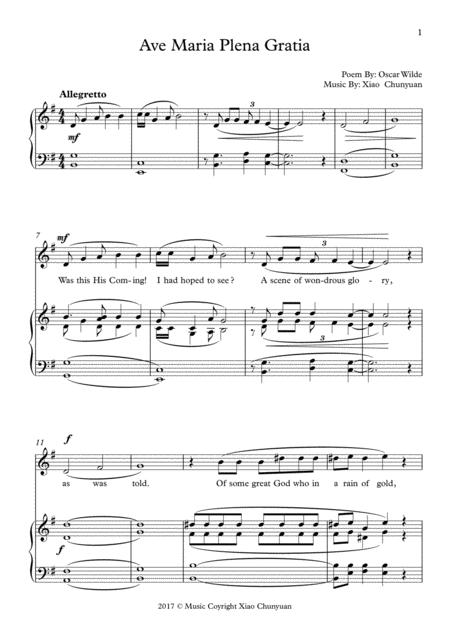 Ave Maria Plena Gratia, In G Major, For Alto Solo Or Bass Solo With Piano
