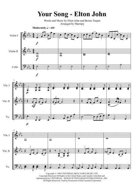 Your Song - Elton John (arranged for String Trio)